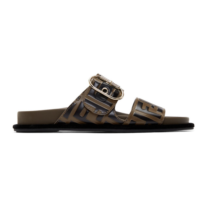 FENDI | Fendi Brown And Black Forever Fendi Sandals | Goxip