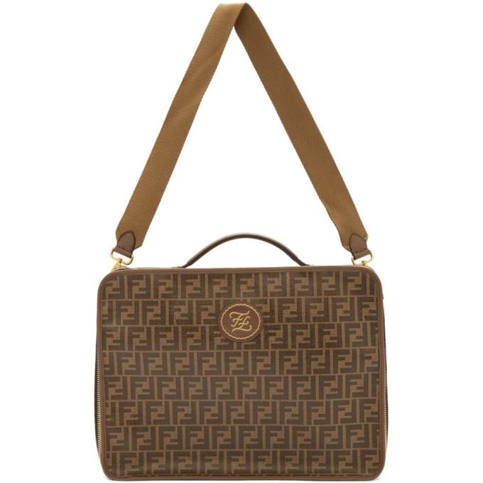 Fendi Brown and Beige Medium Forever Fendi Travel Bag