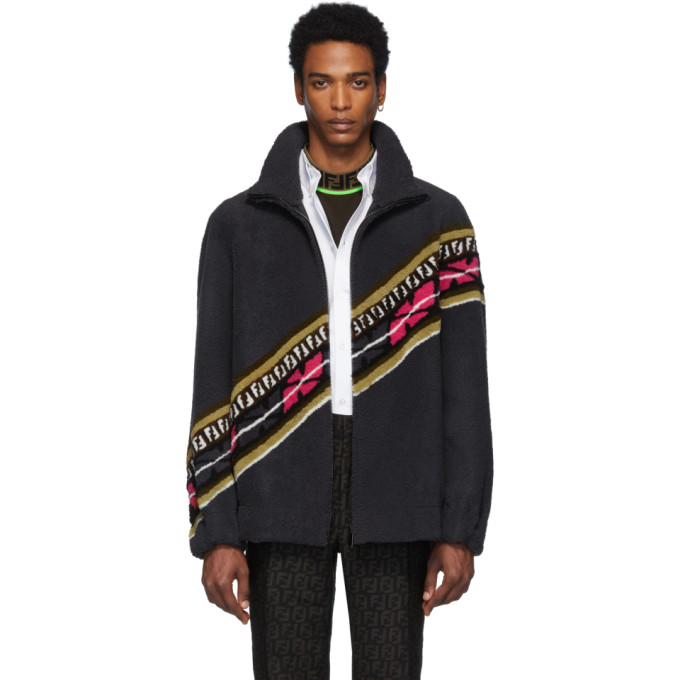 Fendi Reversible Grey and Black Shearling FF Jacket