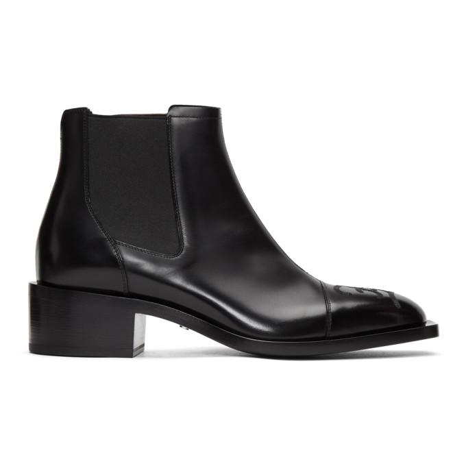 Fendi Black Karligraphy Chelsea Boots