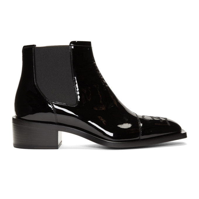 Fendi Black Patent Karligraphy Chelsea Boots