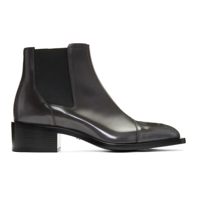 Fendi Grey Karligraphy Chelsea Boots