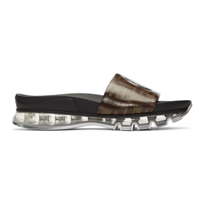 FENDI | Fendi Brown Logo Slides | Goxip