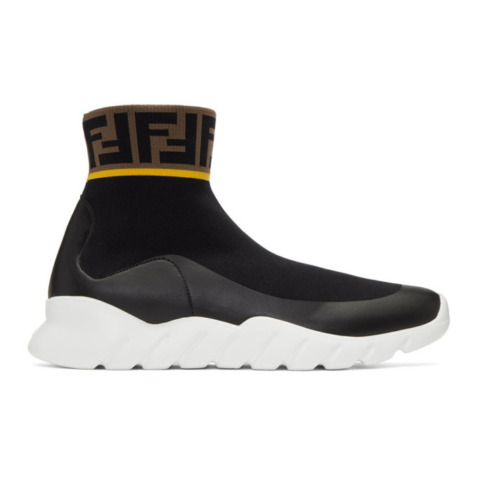 e894bb06b4 Fendi Black and White Tech Knit Forever Fendi High Top Sneakers ...