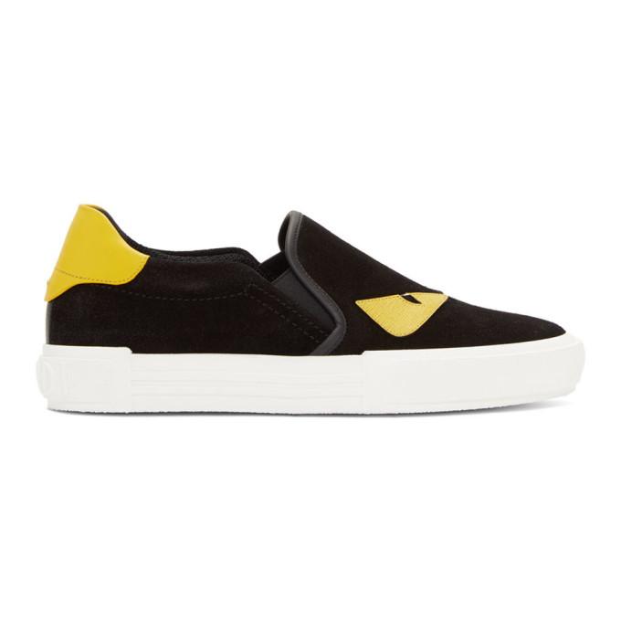 Fendi Sneakers FENDI BLACK BAG BUGS SLIP-ON SNEAKERS
