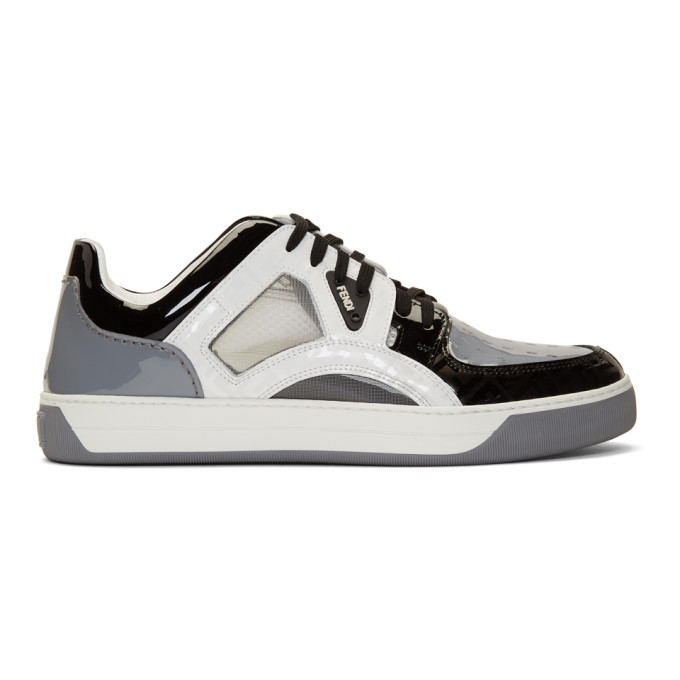 Fendi Grey Patent Fancy Sneakers