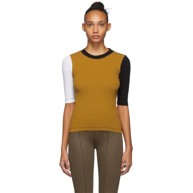 Rosetta Getty T-shirt jaune et noir Cropped Sleeve