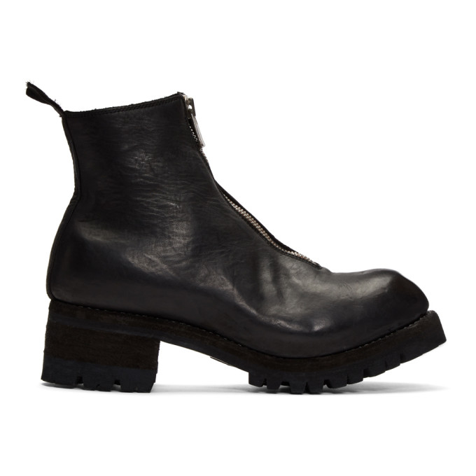 Guidi Black Front Zip Boots