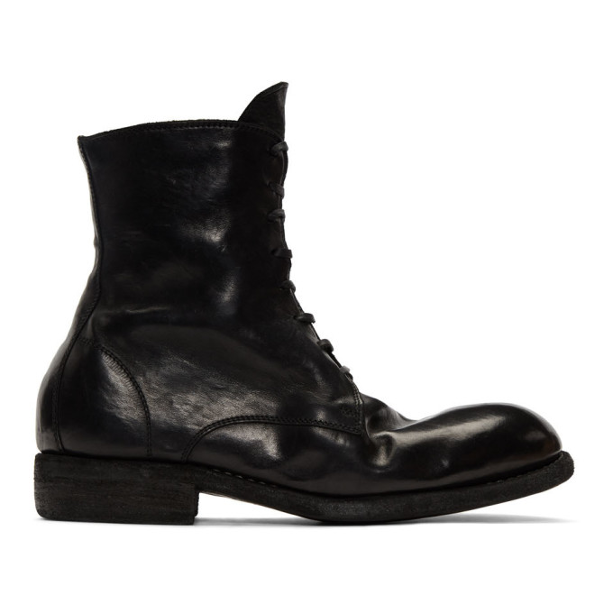 Image of Guidi Black Classic Lace-Up Boots