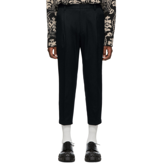 Wooyoungmi Pantalon a taille reglable bleu marine