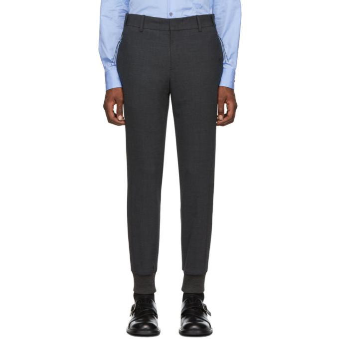 Wooyoungmi Pantalon gris Cuffed