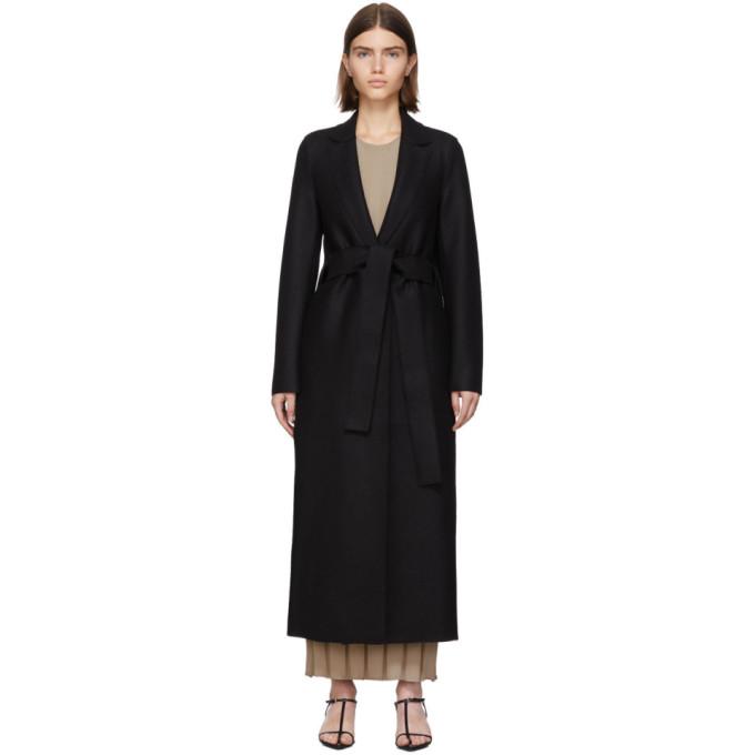 Harris Wharf London Manteau en laine pressee a ceinture noir