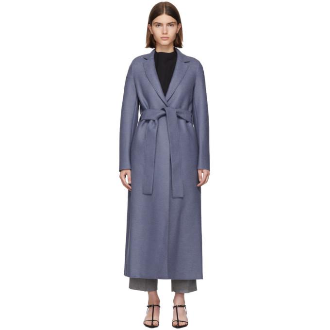 Harris Wharf London Manteau en laine pressee a ceinture bleu