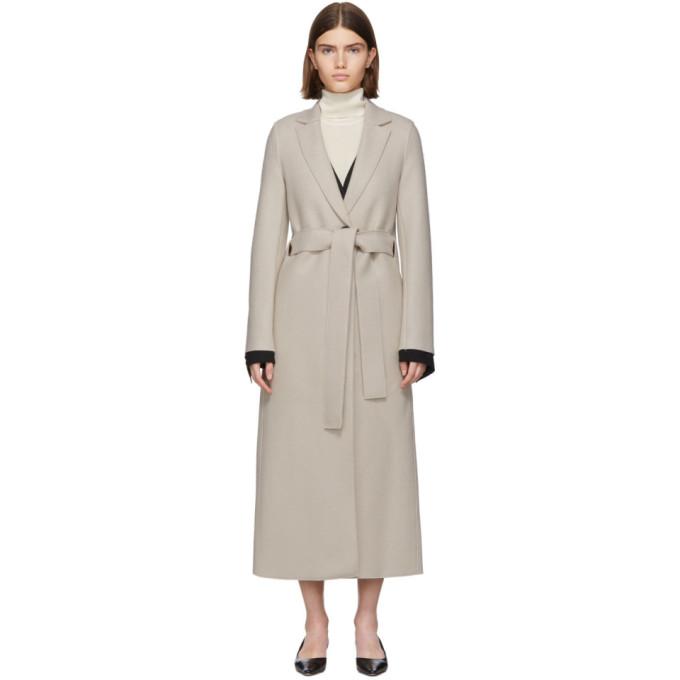 Harris Wharf London Manteau en laine pressee a ceinture blanc casse