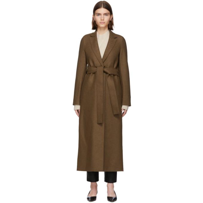 Harris Wharf London Manteau en laine pressee a ceinture brun