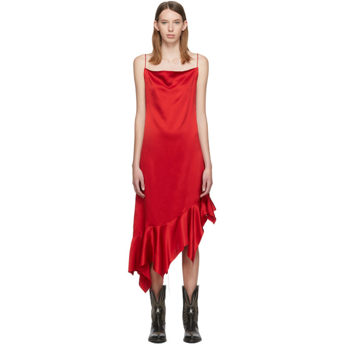 Marques Almeida Robe en soie a basques rouge