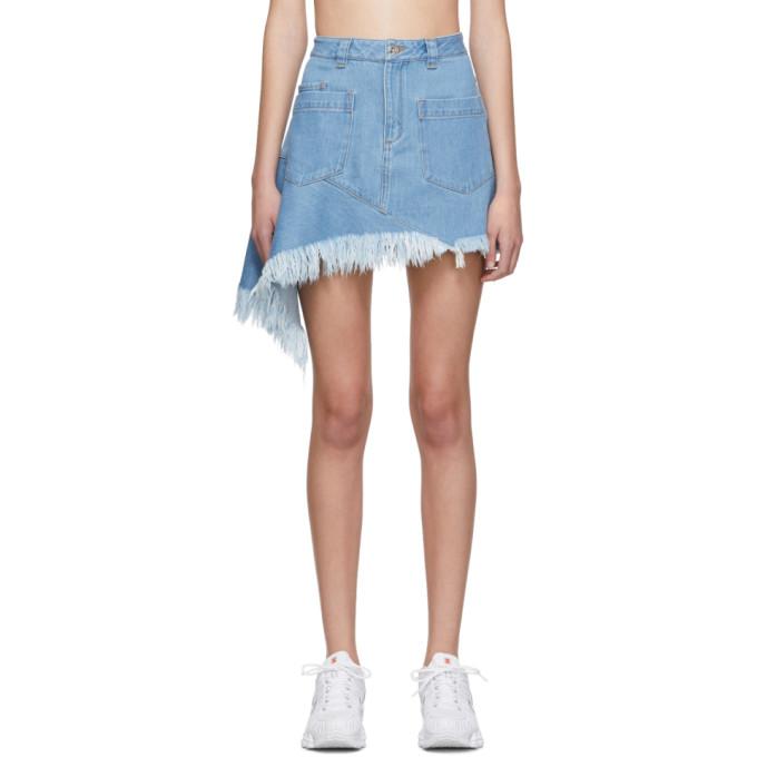 Marques Almeida Mini-jupe asymetrique en denim bleue
