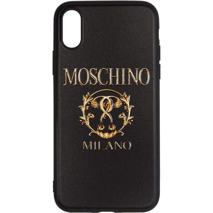 hot sale online e5b8d cc5ca Moschino Black Textured Print Iphone X Case in A1555 Blkfa