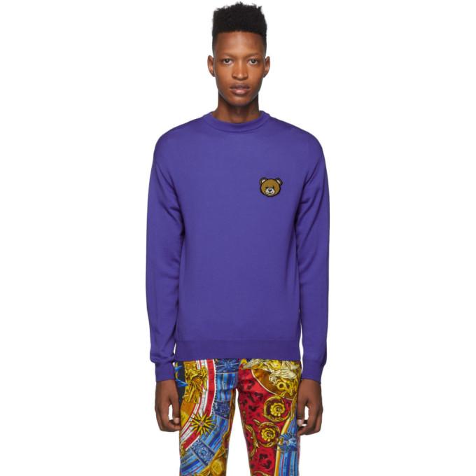 Moschino ブルー Teddy クルーネック セーター