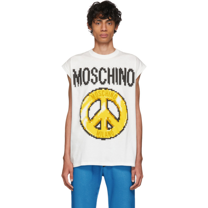 MOSCHINO | Moschino White The Sims Edition Pixel Peace Tank Top | Goxip