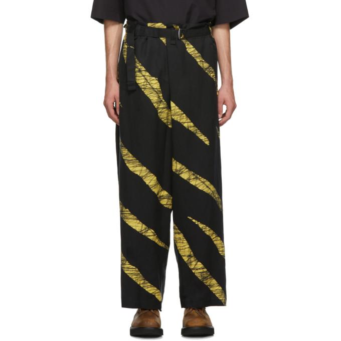 Issey Miyake Men Pantalon a ceinture noir et jaune Wind Print