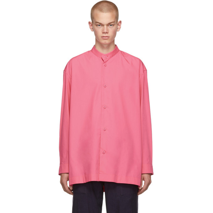 Issey Miyake Men Chemise a col droit rose TC