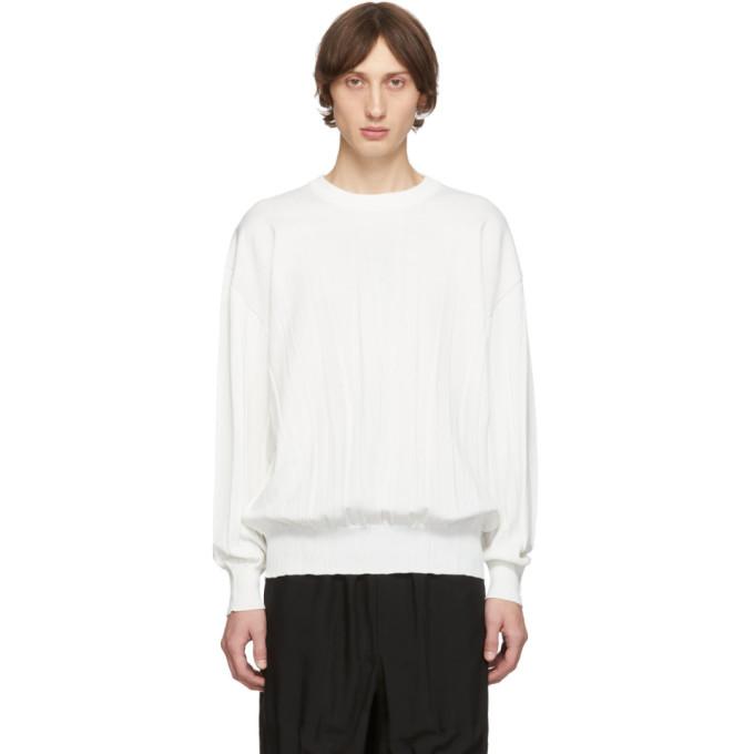 Issey Miyake Men White Wrinkle Knit Sweater