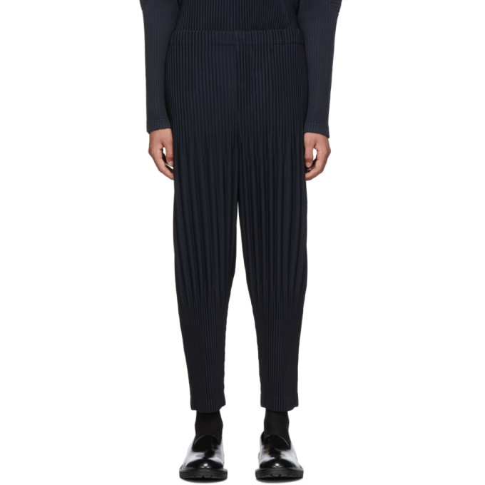 5ccf548e7 Homme Plisse Issey Miyake Navy Pleated Basics Trousers   ModeSens