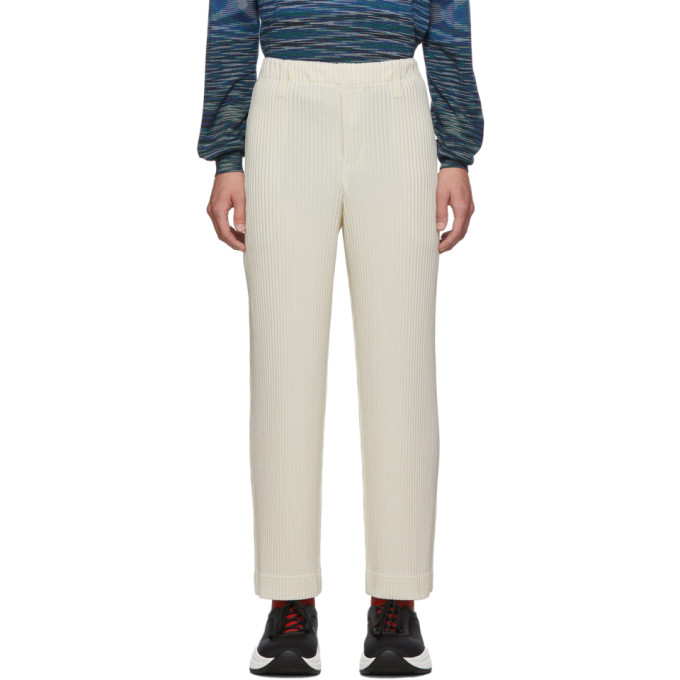 Homme Plisse Issey Miyake Off-White Pleats Tailored Straight Leg Trousers