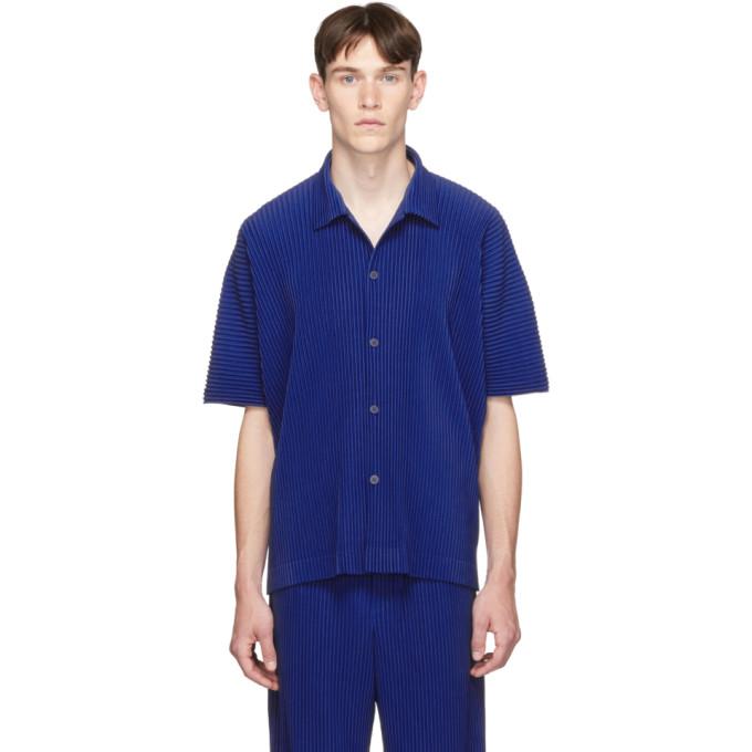 Homme Plisse Issey Miyake Polo plisse bleu