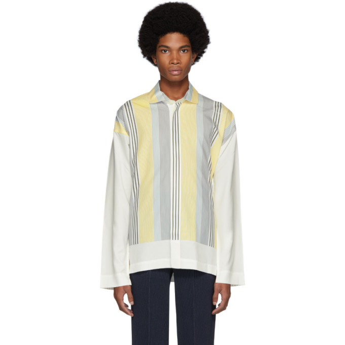 Homme Plisse Issey Miyake Chemise rayee blanche et jaune Press