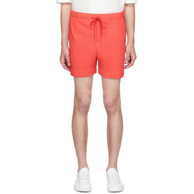 Homme Plisse Issey Miyake Red Colorful Pleat Shorts