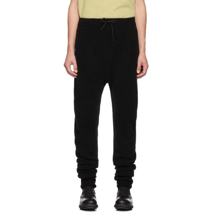 Isabel Benenato Pantalon de survetement en laine de merinos et yack noir 3-Pocket