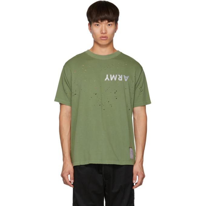 Satisfy T-shirt vert Army Moth Eaten