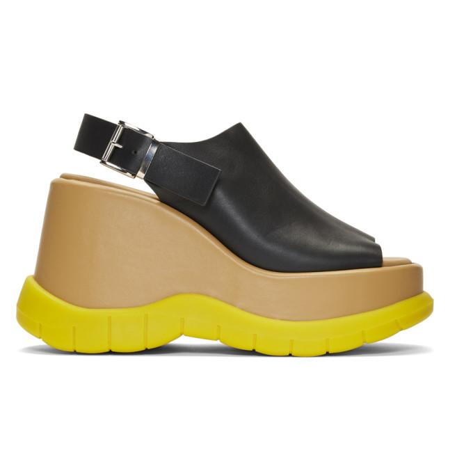 Sunnei Sandales a plateformes noires et jaunes