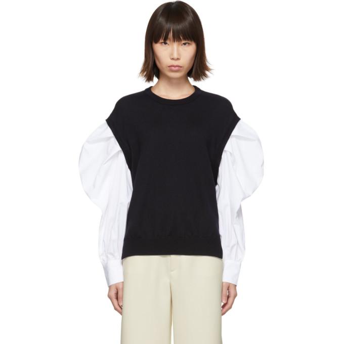 Enfold Pull bleu marine et blanc Shirt Sleeve