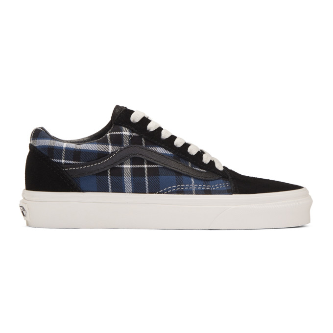 Vans Black and Navy Check Old Skool Sneakers