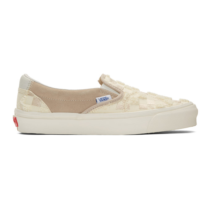 Vans Off-White and Tan Bricolage Classic Slip-On Sneakers