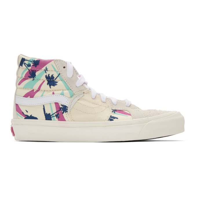 Vans White and Off-White Embroidered Palm Sk8-Hi Bricolage Sneakers