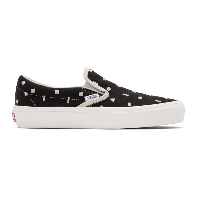 Vans Black Canvas Embroidery OG Slip-On LX Sneakers