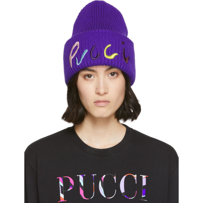 Emilio Pucci Bonnet cotele a logo brode mauve