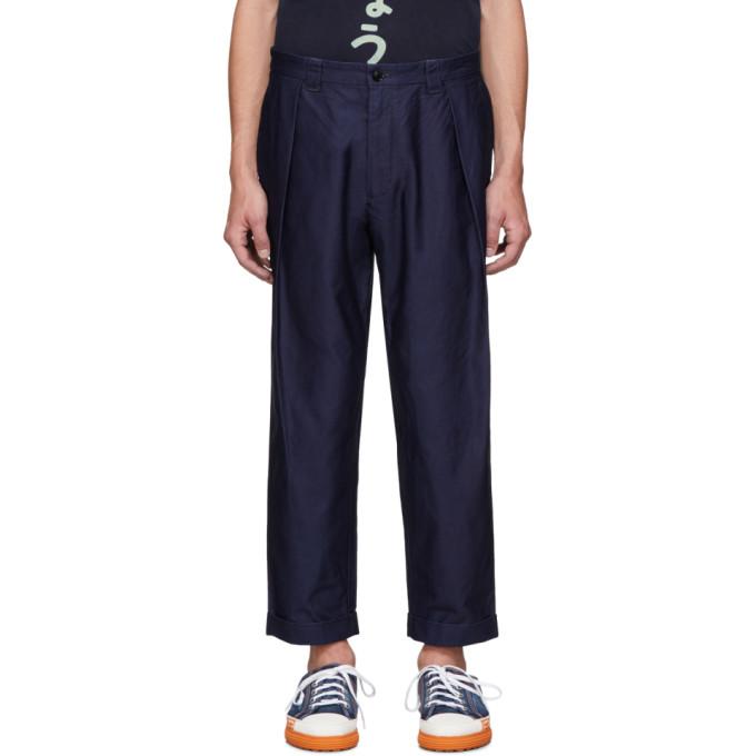 Blue Blue Japan Pantalon en satin bleu marine High Density