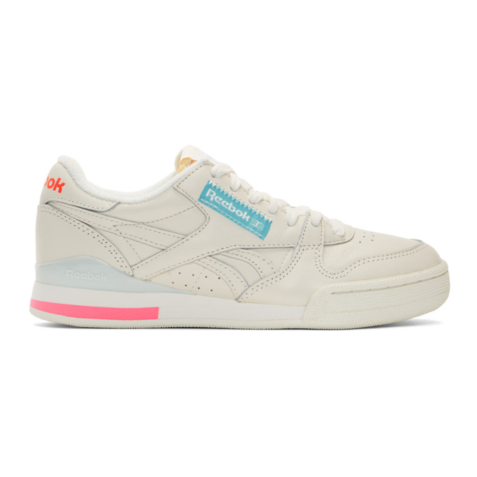 Reebok Classics Off-White and Pink Phase 1 Pro Sneakers