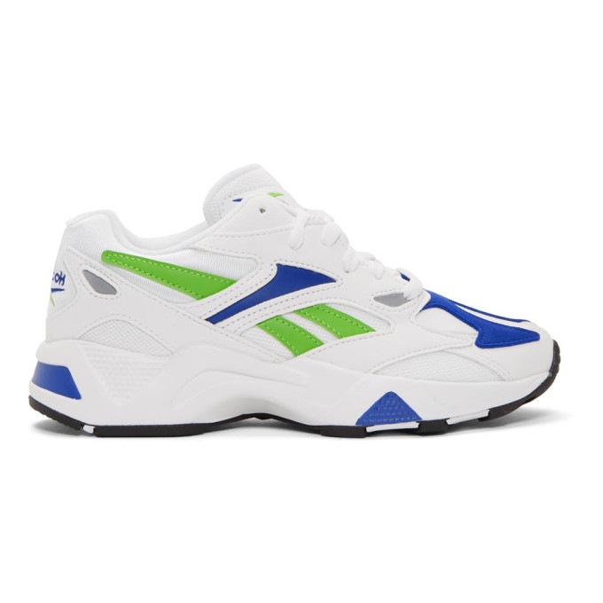 Reebok Classics White and Blue Aztrek 96 Sneakers