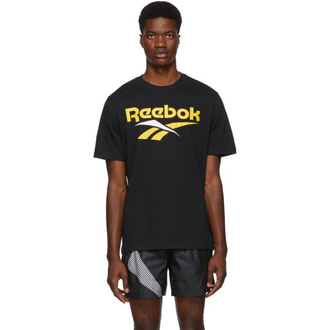 Reebok T-shirts REEBOK CLASSICS BLACK AND YELLOW VECTOR T-SHIRT