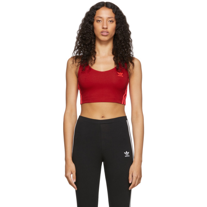Adidas Originals Tops ADIDAS ORIGINALS RED CROPPED TANK TOP