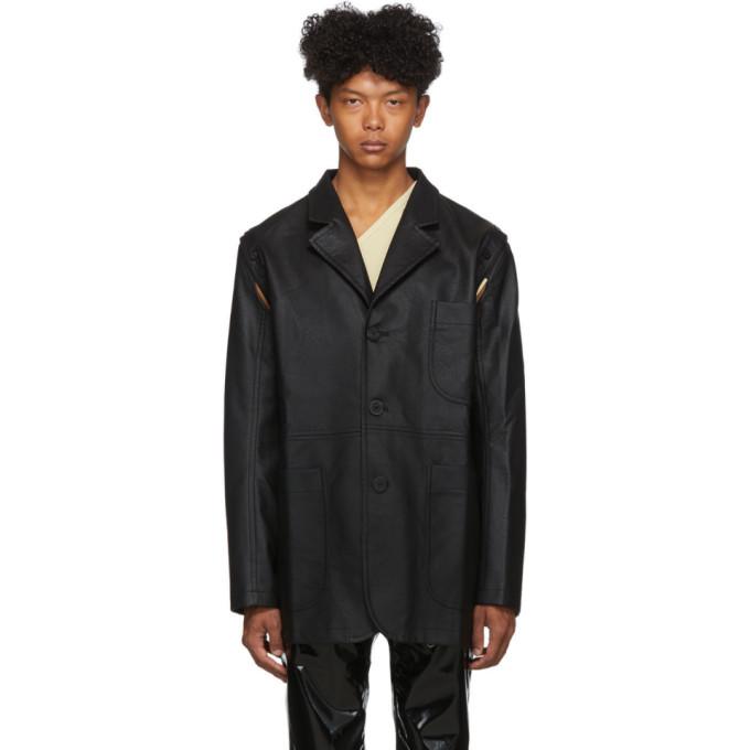 Telfar Black Faux-Leather Detachable Jacket