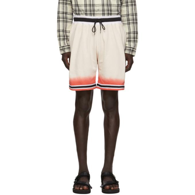 John Elliott Off-White and Red Game Shorts