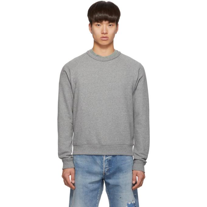 John Elliott Grey Raglan Crew Sweatshirt
