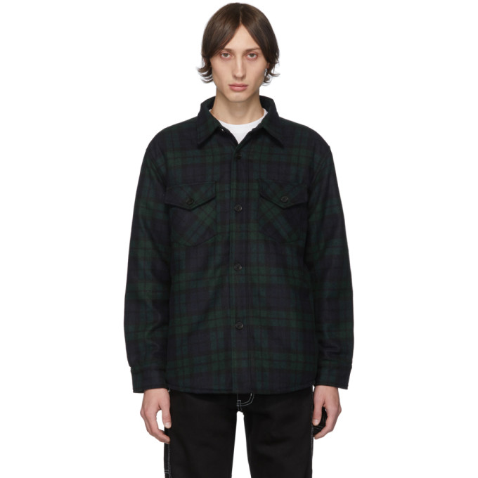 Noon Goons Blue and Green Tartan Mullen Shirt Jacket